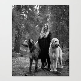 Cecilie and the wolfhounds. Canvas Print