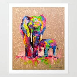 Elephants mother and son Art Print