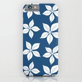 Classic Blue Poinsettia Pattern  iPhone Case