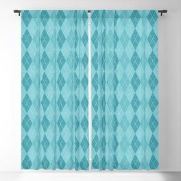 Textured Argyle in Blues Blackout Curtain