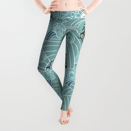 Pattern of water with dragons Leggings