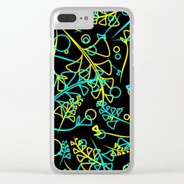 Botanical bright pattern of goffed and yellow plants and grass blades on a black background. Clear iPhone Case