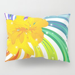 Exotic Flower on Rainbow Glitter Spiral Pillow Sham