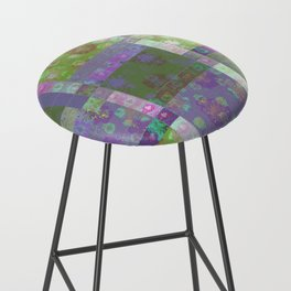Lotus flower purple and lime green stitched patchwork - woodblock print style pattern Bar Stool