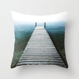 Fishing Lake Pier Throw Pillow