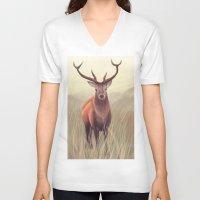 elk V-neck T-shirts featuring ELK by Juliana Vidal