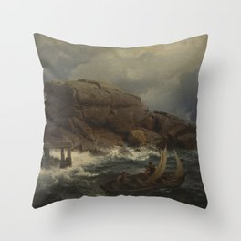 Hans Gude Painting -  En Norsk S Havn A Norwegian Art Seaport 1892 Statens Museum For Kunst Kms1140 Throw Pillow
