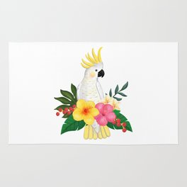 Tropical Cockatoo Floral Watercolor Rug