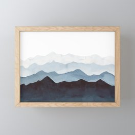 Indigo Mountains Landscape Framed Mini Art Print