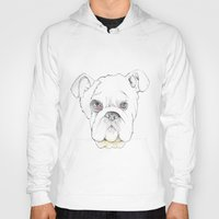 bulldog Hoodies featuring Bulldog by Matt Ellero