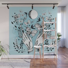 Full Moon Magic Of Nature With Blackbirds And Butterflies Wall Mural