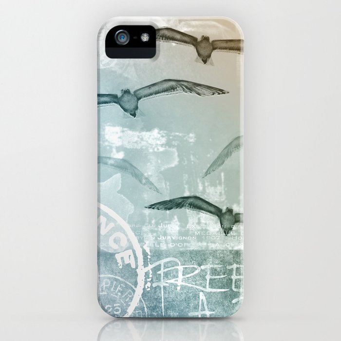 Free Like A Bird Seagull Mixed Media Art iPhone Case