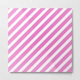 Basic Stripes Pink Metal Print