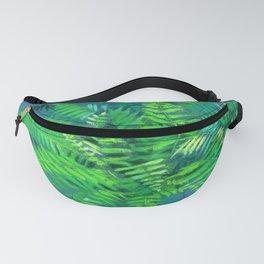 Fern, floral art, forest plants, green & blue Fanny Pack
