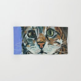 Green Eyed Cat Portrait Hand & Bath Towel