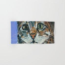 Green Eyed Cat Portrait Hand & Bath Towel