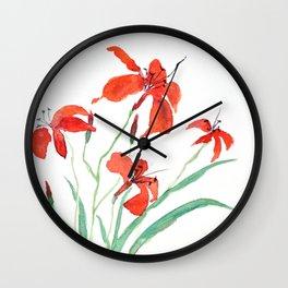 orange day lily Wall Clock