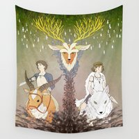 princess mononoke Wall Tapestries featuring Mononoke Hime by Lady Sugar