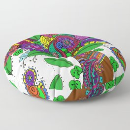 Psychedelic Paisley Tree - on White Background Floor Pillow