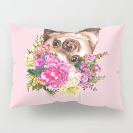 Flower Crown Baby Sloth in Pink Pillow Sham
