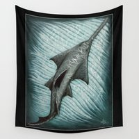 biology Wall Tapestries featuring Sawfish - Acrylic Painting by Amber Marine