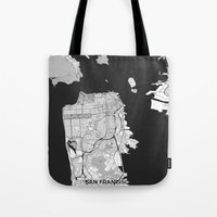 san francisco map Tote Bags featuring San Francisco Map Gray by City Art Posters