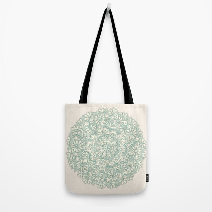 Sage Medallion with Butterflies & Daisy Chains Tote Bag