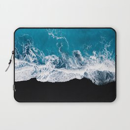Black sand beach with waves and blue Ocean in Iceland – Minimal Photography Laptop Sleeve