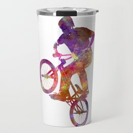 Man bmx acrobatic figure in watercolor Travel Mug