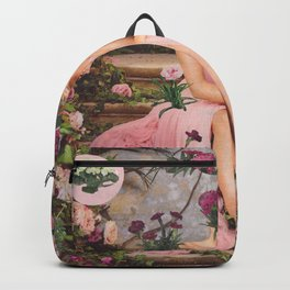 Romantic Floral Glitch Backpack