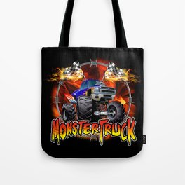 Monster Truck blue on Fire                                          Tote Bag