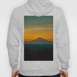 Mountain Volcano In The Distant Green Yellow Orange Sunset Hues Landscape Photography Hoody