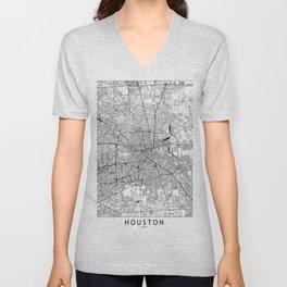 Houston White Map Unisex V-Neck