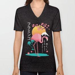 Flamingo Japanese Art Style Unisex V-Neck