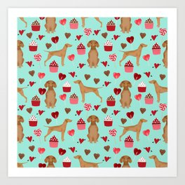 Vizsla valentines day dog breed gifts for dog lover unique dog pet portraits animal art Art Print