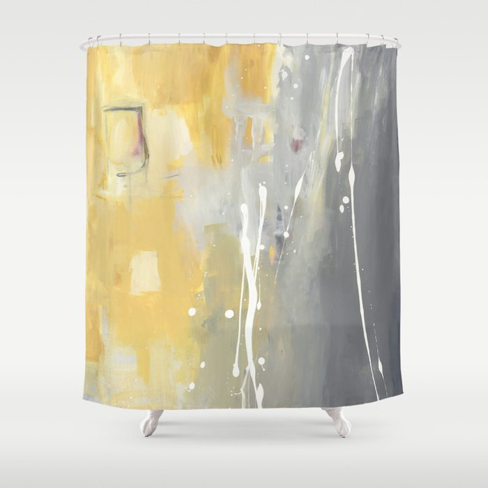 50 Shades Of Grey And Yellow Shower Curtain