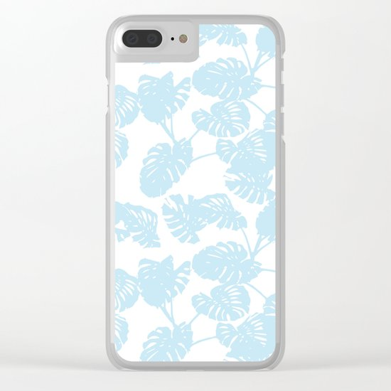 Blue monstera tropical leaves print Clear iPhone Case