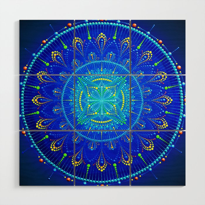 Blue Mandala Painting On Canvas Wood Wall Art By Anastasiahelten