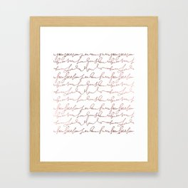 Modern faux rose gold trendy typography Framed Art Print