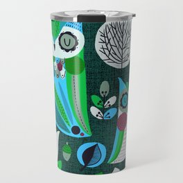 Night Owls Retro Pattern Travel Mug