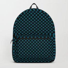 Black and Ocean Depths Polka Dots Backpack