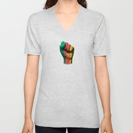 Cameroon Flag on a Raised Clenched Fist Unisex V-Neck
