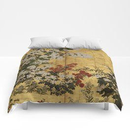 White Red Chrysanthemums Floral Japanese Gold Screen Comforters