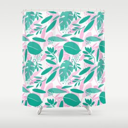 Floral Botanical Illustration Shower Curtain