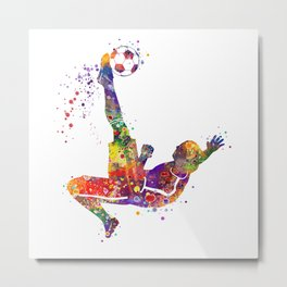 Bicycle Kick Boy Soccer Player Colorful Watercolor Art Striker Gift Football Player Gift Metal Print