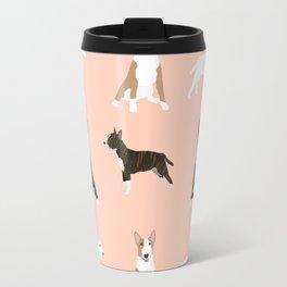 Bull Terrier mixed coat black and white terriers white and tan bull terriers lovers dog breed gifts Travel Mug