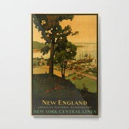 New England Vintage Travel Poster Metal Print