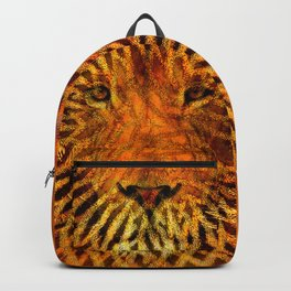 A design that incorporates zebra stripes and the face of a Lion Backpack
