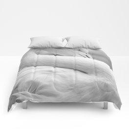 Mad Flamingo (Black and White) Comforters