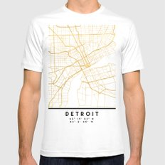 DETROIT MICHIGAN CITY STREET MAP ART Mens Fitted Tee White MEDIUM